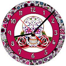 """8"""" WALL CLOCK Sugar Skull 30 Dia de los Muertos Day of the Dead Halloween Tattoo"""