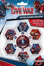Captain America Interlocking Erasers