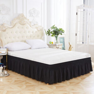 Ruffle Skirt Elastic Bed Skirt Hollow Dust Bed Valance Easy Fit Wrap Around