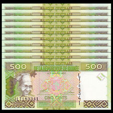 Lot 10 PCS, Guinea 500 Francs, 2012, P-39, UNC