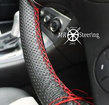 FOR AUDI A3 8P 04-2012 PERFORATED LEATHER STEERING WHEEL COVER RED DOUBLE STITCH