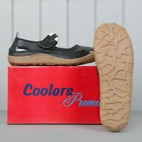Ladies Real Leather Coolers Premier Summer Sandals Shoes Black 3-7