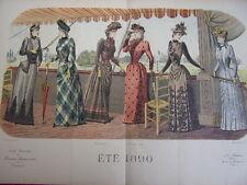 """77/ GRAVURE DE MODE """" Moniteur de la Mode. Eté Paris 1890 """". Grand format 36x52"""