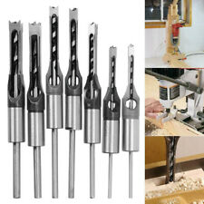 7PCS Square Hole Drill Bit Steel Mortising Drilling Woodworking Tools Chisel