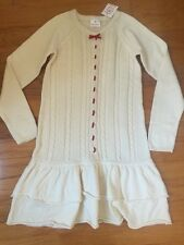 New Hanna Andersson Girls Ivory Knit Dress Santa Lucia sz 160 (12-teen)