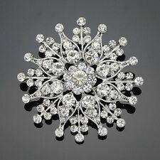Snowflake 6CM Large Clear rhinestone bouquet wedding decro diy brooch pin Gift
