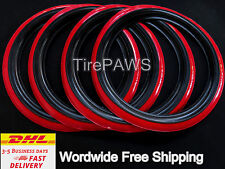 "ATLAS Portawalls 14"" Add-On Black Red Wall Tire Insert Trim SET OF 4.old school,"