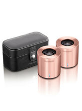 LIFETRONS DRUMBASS Iiie METALLIC POWERFUL PORTABLE MINI TRAVEL SPEAKERS & POUCH