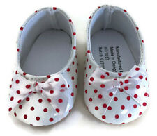 White with Red Polka Dots Shoes w/Bow for 18 inch American Girl Doll Clothes