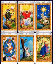 "Tarot of White Cat Card Deck 6 Language 79 Cards MINI Pocket 4.5x7.5cm 1.8х3"""