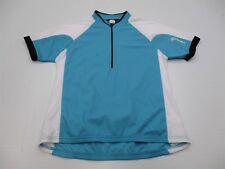 Canari T5889 Women Size L Mesh Knit Half Zip Cycling Blue/White Raglan Tee Shirt