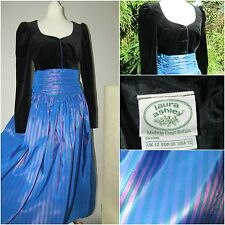 VINTAGE 80's LAURA ASHLEY DRESS black VELVET striped TAFFETA  PARTY PROM 10