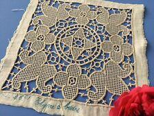 Ancien motif brodé main Coton Fleur lys Brides  1660/ 121- K -