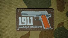 NEW 1911 PISTOL VINTAGE FIREPOWER BROWN PVC TACTICAL MORALE AIRSOFT PATCH AUSSIE