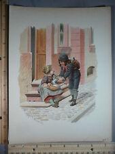 Rare Antique Orig VTG 1893 Children & Birds Eugen Klimsch Color Litho Art Print
