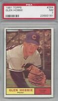 1961 Topps baseball card #264 Glen Hobbie, Chicago Cubs PSA 7 NM