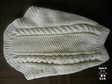 Off-white Irish knit style sweater for dogs-size Medium-handknit in USA