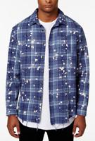 Jaywalker Men's Bleach-Splatter Plaid Cotton Shirt,Bleach Splatter,Size M , $44