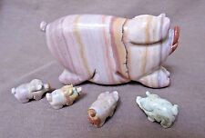 Native Zuni Dolomite Pig & Piglets Fetish Carving by Stanton Hannaweeke C1771