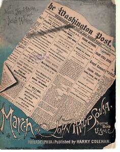 Washington Post March 1889 John Philip Sousa Sheet Music