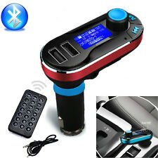 Newest Bluetooth Car Kit Mp3 Player Fm Transmitter Sd Lcd Dual Usb Charger Red