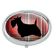 Scottie Dog on Red Plaid Scottish Terrier Metal Oval Pill Case Box