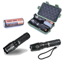 Tatical Police Powerful LED Flashlight Zoomable SML T6+18650 Battery+charger+box