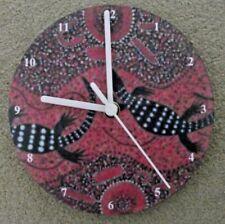 "ABORIGINAL ART ""LIZARDS""  7"" wall clock upcycled"