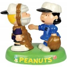 Peanuts Schroeder and Lucy Baseball in Tray Salt and Pepper Shakers Set UNUSED