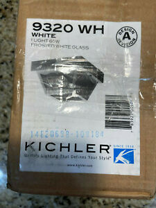 Kichler 9320WH Outdoor Ceiling Light, White 1 light 60Wfrosted white glass