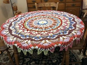 """25"""" Vintage Tablecloth Hand Crocheted  Multicolored Round Cotton Table Topper"""