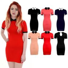Ladies Short Sleeve Plain Peter Pan Collar Contrast Bodycon Women's Short Dress