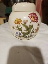 Mason Vintage Ginger Jar Red yellow & Blue Flowers with butterfly