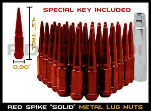 "1999-2020 Chevrolet GMC 8 Lug 8x6.5 8x180 Red Spike Lug Nuts 4.5"" Tall"