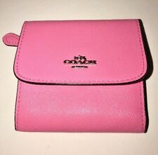 Coach Women's Pink Color Crossgrain Leather Small Wallet F25957
