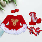 Newborn Infant Baby Girl Xmas Clothes Tutu Romper+Shoes+Headband 3PC Outfits Set