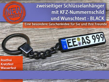 Zweiseitiger Schlüsselanhänger mit Wunschtext, Geschenkidee, KFZ, BLACK Schwarz