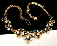 "Rare Vintage 16""x1"" Signed Florenza Goldtone AB Glass Rhinestone Necklace A4"