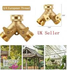 "3/4"" Brass Double 2 Way Garden Tap Connector Adaptor Watering Hose Pipe Splitter"