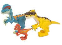Imaginext Jurassic World Dino Lot of 3 Yellow Raptor Red Blue Dilophosaurus
