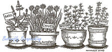 Garden Herb Pots Basil Wood Mounted Rubber Stamp Northwoods O9075 New