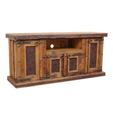 Tooled Leather TV Stand With Iron Accents Real Wood Western Rustic Cabin Lodge