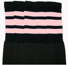 """25"""" KNEE HIGH BLACK tube socks with BABY PINK stripes style 1 (25-27)"""