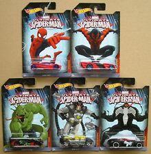 Marvel Ultimate Spiderman Lote De 5 Hotwheels Die-cast Cars-Nuevo Y Cardar