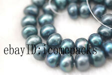 "freshwater pearl peacock black roundel  12-15mm 15"" wholesale beads baroque"