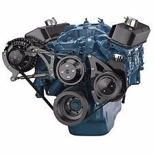 Black Small Block Chrysler Serpentine Pulley Kit 318 360 Mopar Power Steering PS