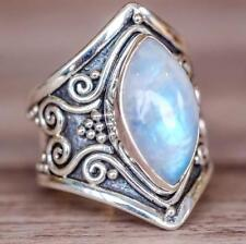 Woman Man White Fire Opal Moon Stone Wedding Engagement Silver Ring Size 5-11