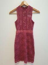 WOMENS BNWT TOPSHOP PETITE PINK FLORAL LACE ZIP EVENING DRESS UK 4 EU 32