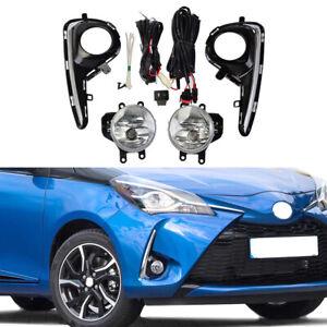 For Toyota Yaris Hatchback 2018 2019 Fog Light Driver Lamp Bumper Lens w/ Switch