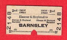 Railway Ticket ~ BR(E) 2nd Cheap Single - Elsecar & Hoyland to Barnsley - 1967